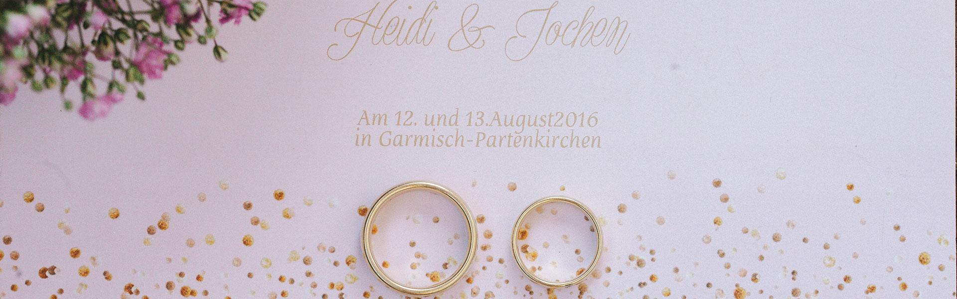 Hochzeitseinladung von Heidi und Jochen, ehemaliges Brautpaar von 4 weddings & events by Uschi Glas