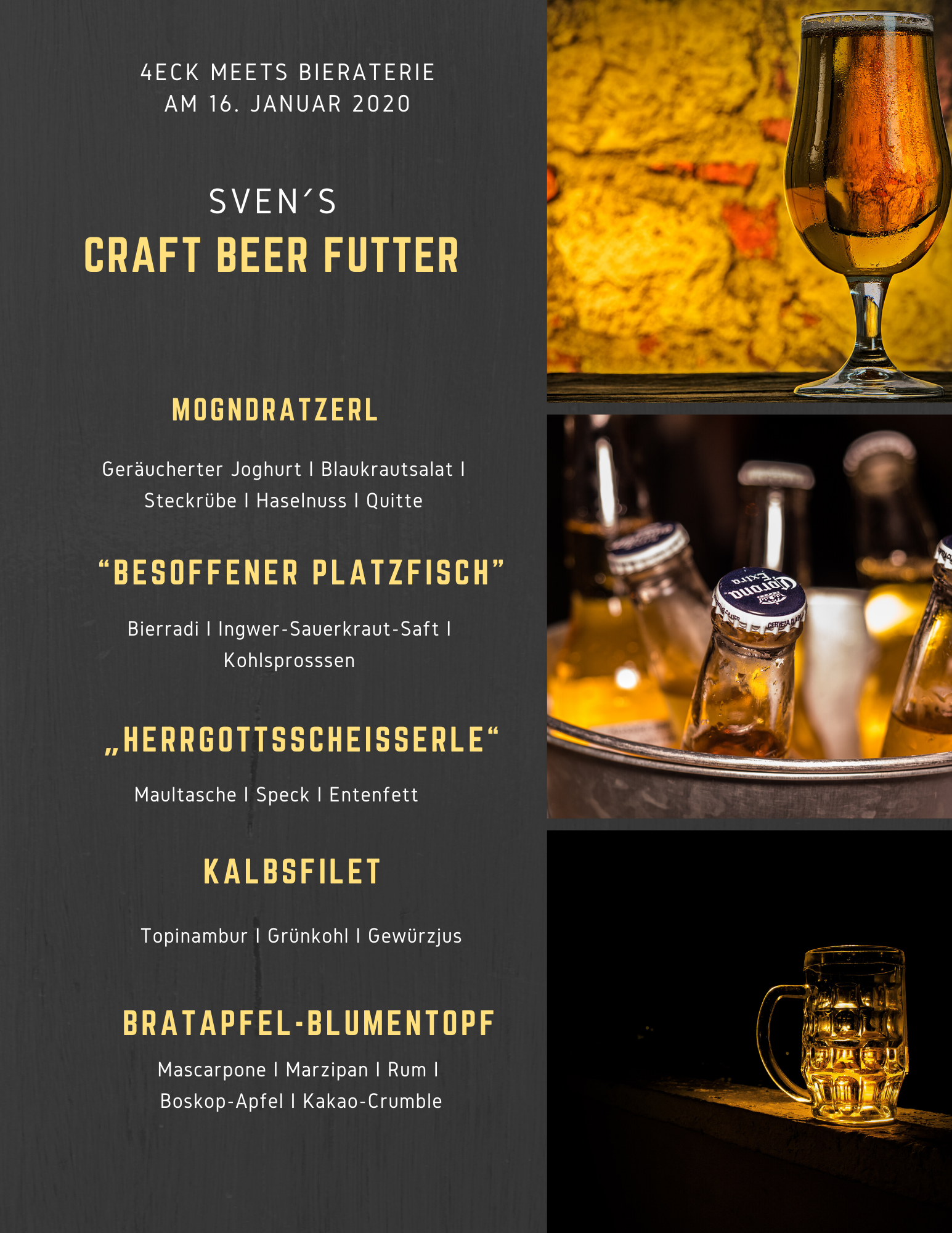 Craft Beer Dinner Biermenü