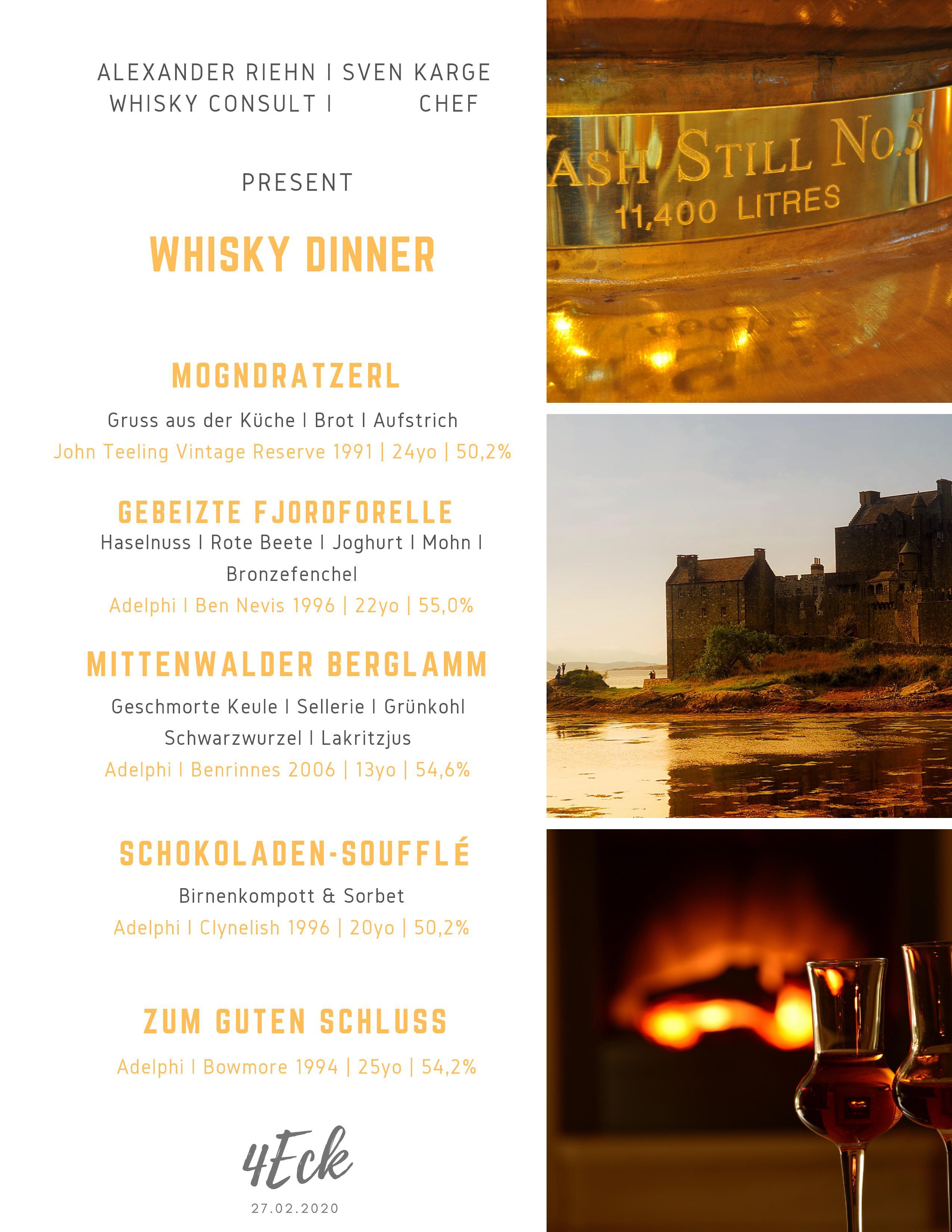 Whisky-Dinner 4Eck Restaurant Garmisch-Partenkirchen
